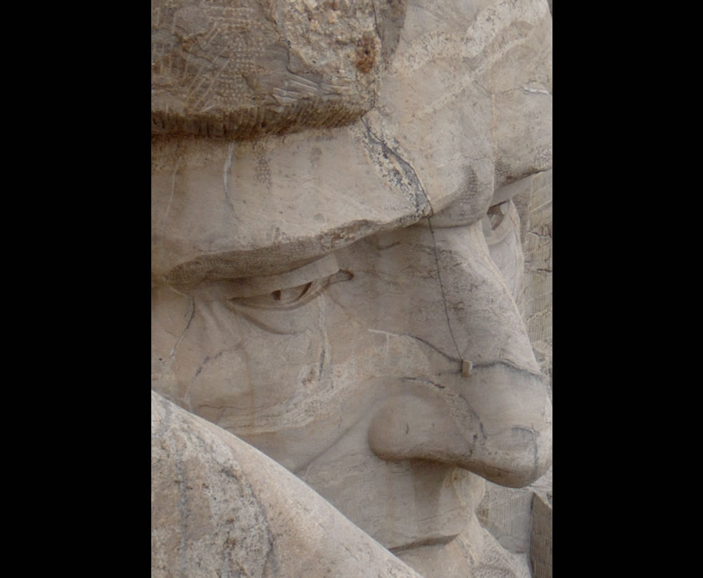View-of-Abraham-Lincoln-from-on-top-of-Mt.-Rushmore
