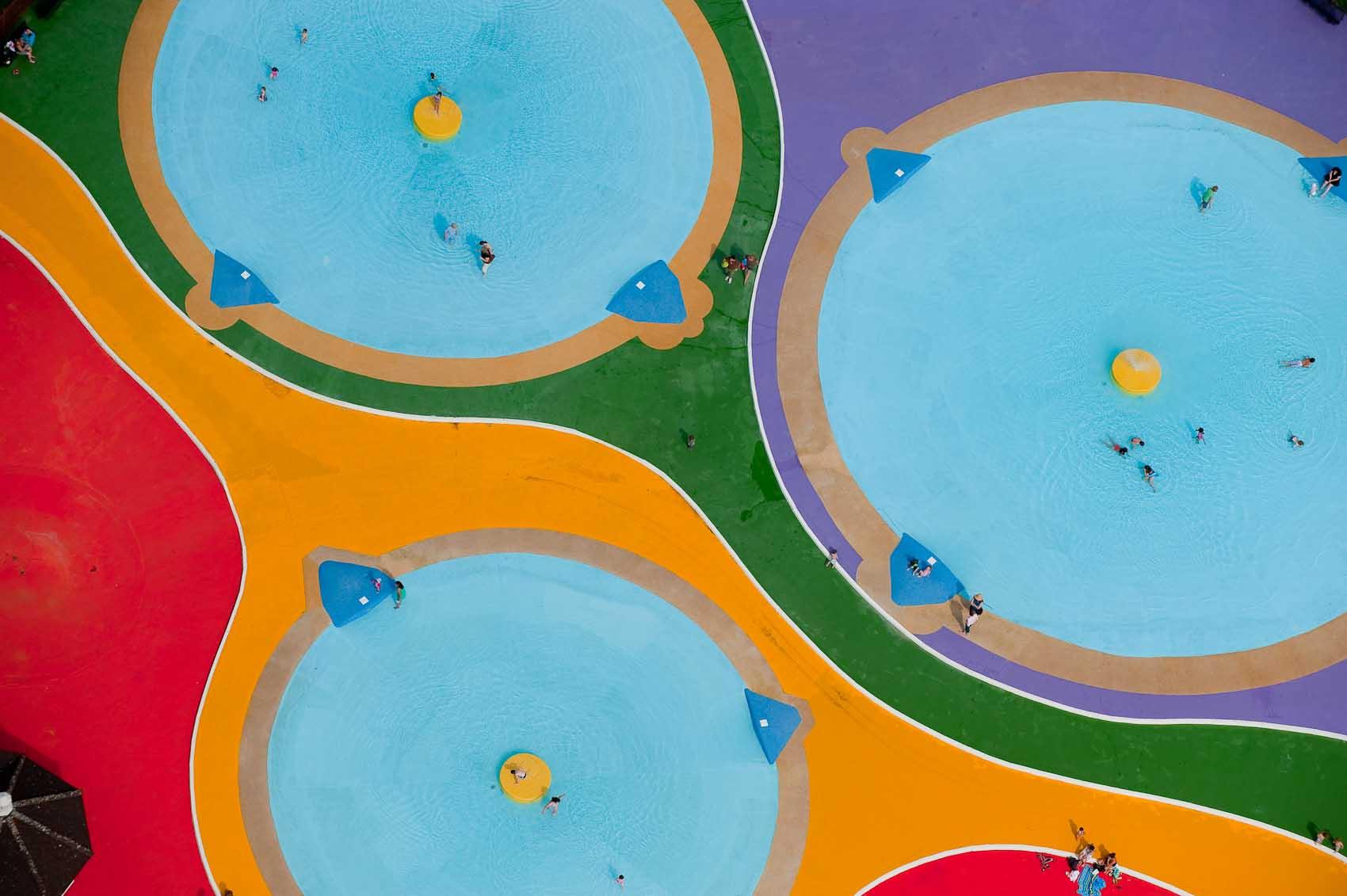 Cassiobury Park, play pools, aerial view