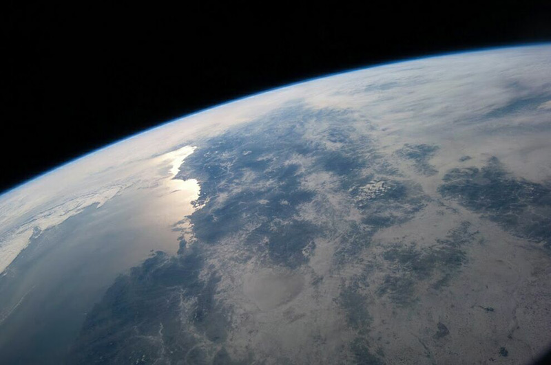 Coast of the Sea of ​​Japan and the DPRK basking in the glow of the rising sun. Picture of the earth am astronauts working on the International Space Station, see every 1.5 hours.