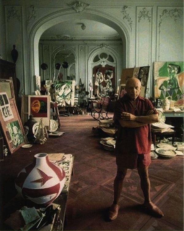 Pablo Picasso in his studio