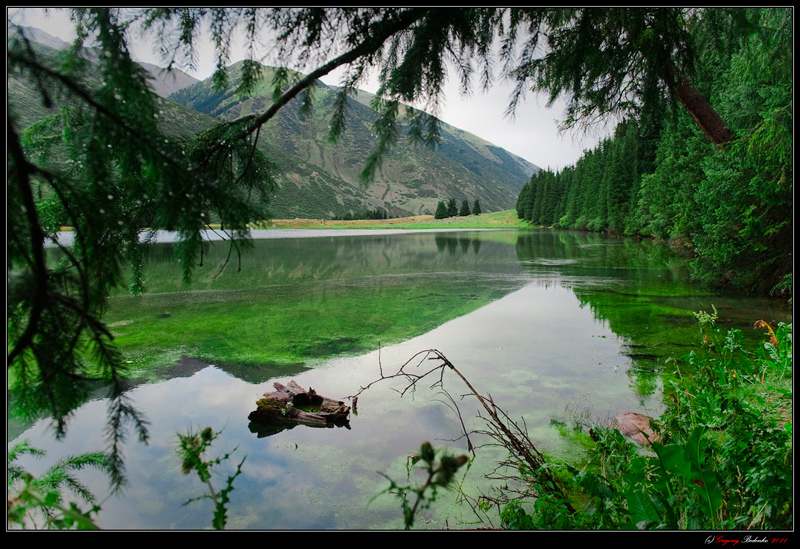 Kyrgyzstan. Mountains Kungei Alatoo. Grygoryivsky spring lake in the valley.
