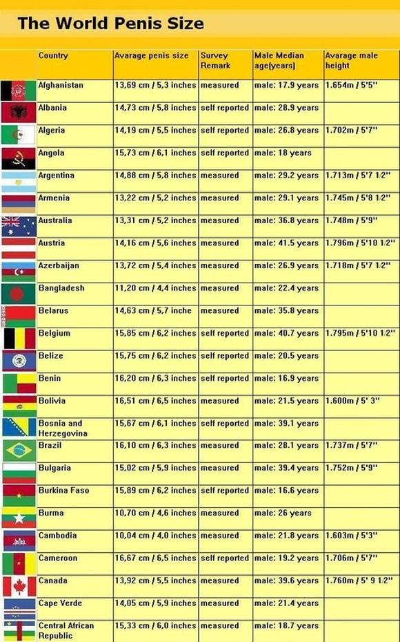 penis sizes throughout the world Average