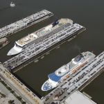 Aerial view of ships docked at the New Y