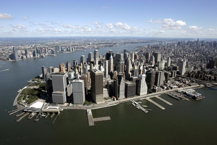 Aerial view of Lower Manhattan looking n