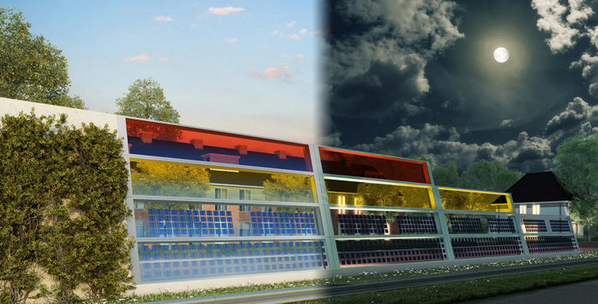 Colorful roadside noise barriers that also generate #solar power, even on cloudy days.