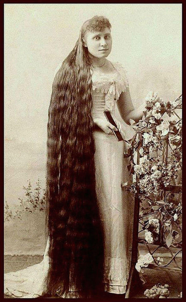 Woman With Unbelievably Long Hair On Victorian Era Photos