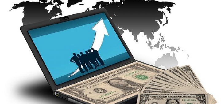 Crowdfunding - Laptop Full of Money