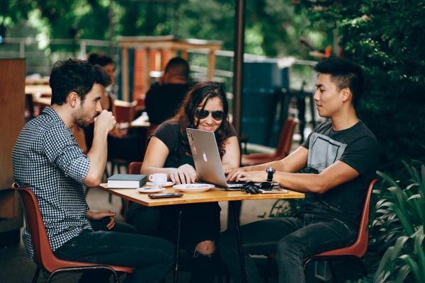 students studying in cafe